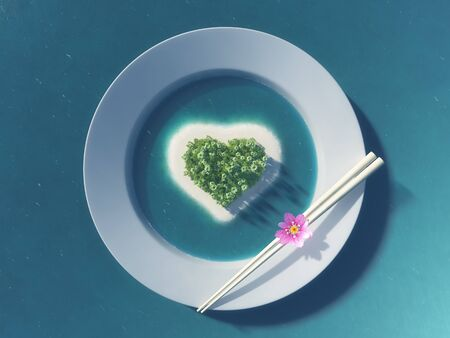 Paradise tropical island in the form of heart in white plate  photo