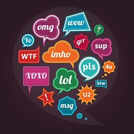 acronyms: Collection of acronyms and abbreviations on retro vintage colorful speech bubbles