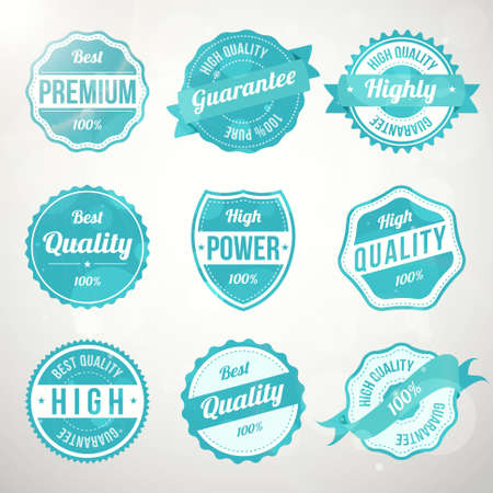 Collection of retro vintage turquoise design labels  Vector