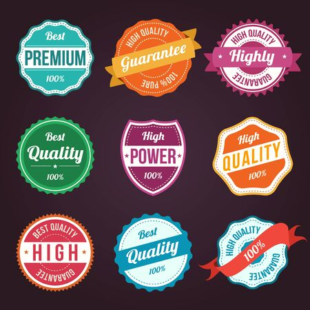 quality assurance: Collection of retro vintage colorful design labels Illustration