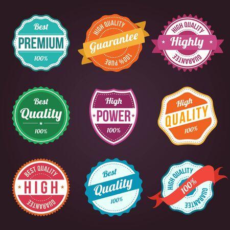 quality assurance: Collection of retro vintage colorful design labels Illustration