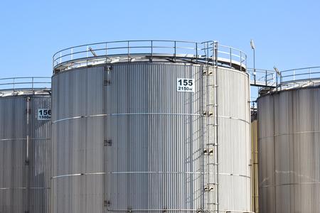 nafta: Steel storage tanks Stock Photo