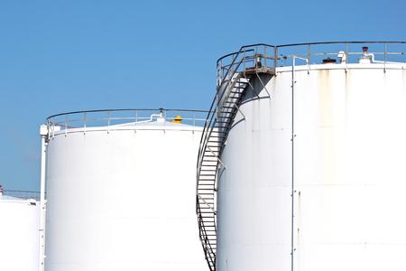 White oil storage tanks Stock Photo