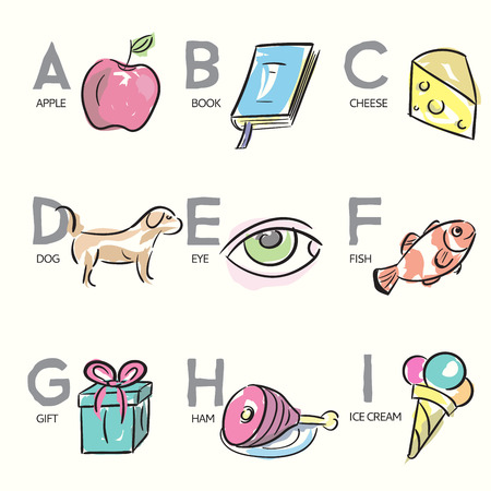 spelling book: Hand-drawn illustrations for alphabet letters Illustration