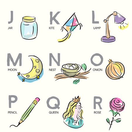 Hand-drawn illustrations for alphabet letters Vector
