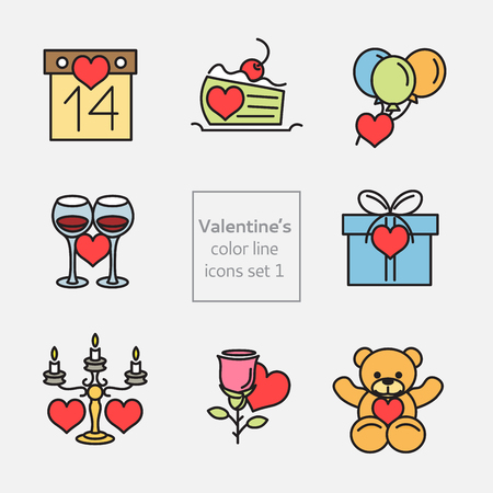 Set of Valentines icons line and flat fill Vector