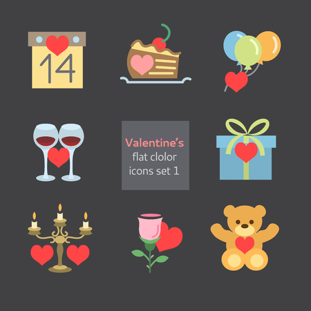 Set of Valentines icons flat fill Vector