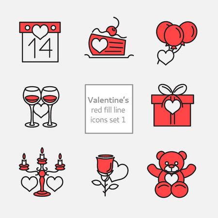 spachteln: Set Valentinstag Symbole Linie und flach fill