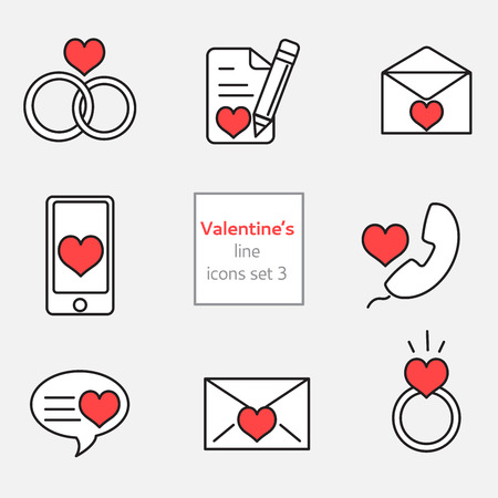 Set of Valentines Icons line and flat fill