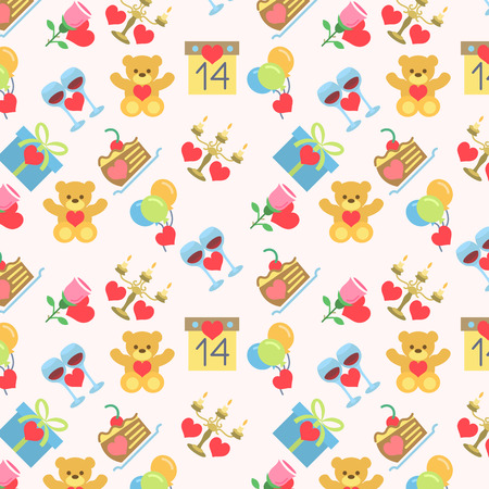 Valentines Seamless Pattern Flat Icons Light Vector