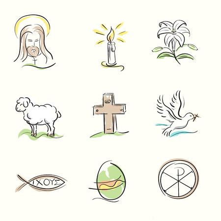 inri: Set of Easter Christian symbols and spring hand drawn illustrations