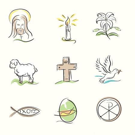 Set Ostern christlichen Symbolen und Frühling Hand gezeichnet Abbildungen
