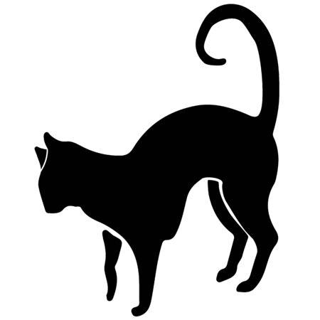 Hand Drawn Vector Cat Silhouette. Isolated On White Element Vektoros illusztráció