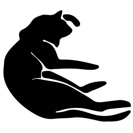 Hand Drawn Vector Cat Silhouette.  Isolated On White Element 向量圖像