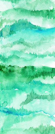 Hand drawn watercolor mountains and forests long landing page background. Stock Photo