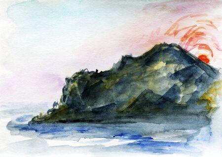 Hand Drawn Watercolor Mountain Shore Laandscape