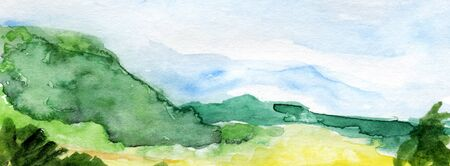 Hand drawn panoramic european landscape watercolor background.