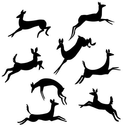 Jumping Female Deer Vector Set