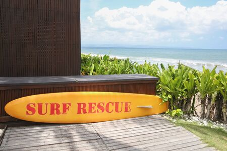Yellow surf rescue board by the sea. Ocean view Stock Photo