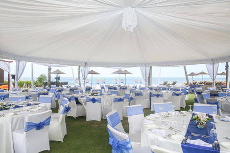 Party or wedding set up with ocean view