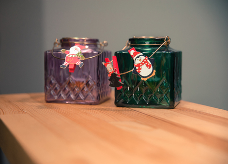 Christmas decorations. Glass jars. New nyear and Christmas concept