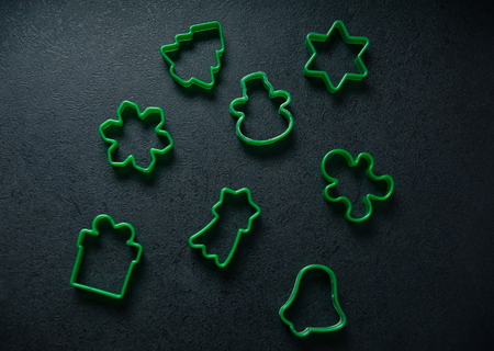 Christmas cookies forms. Christmas and New Year holidays concept