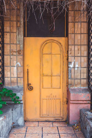 a colorful front door on an old house Archivio Fotografico
