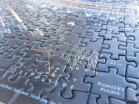 pieces of a complete puzzle jigsaw of the universe and the galaxies Archivio Fotografico
