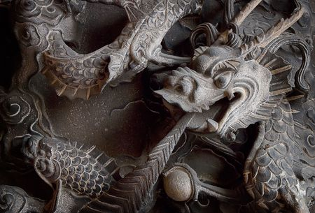 It is a chinese monster of carving stone. Stock Photo