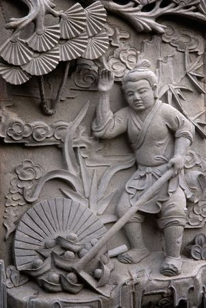 It is a chinese stone carving about old story.