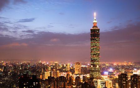 Es ist die sch�ne Stadt-Nacht in Taiwan.