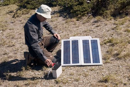It is the solar energy in outdoors. photo
