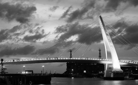 It is a beautiful steel arch bridge. Stock Photo