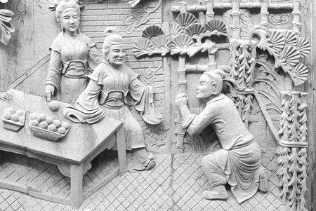 Chinesische Fabel ?ber Filial Piety von Stone carving im Tempel.