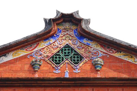 Traditionelle Dach Geb�ude mit wei�en Hintergrund in Asien.