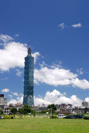 Blue sky,green grass and Taipei101. Editorial