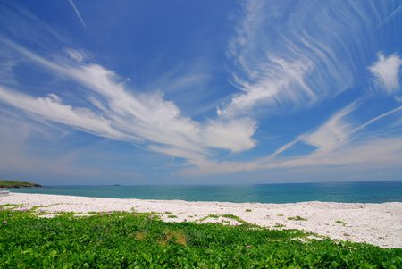 Beautiful beach with blue sky and green grass. photo