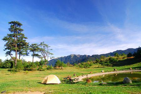 Sch�nen Campingplatz, Lake, green Grass and blue Sky.