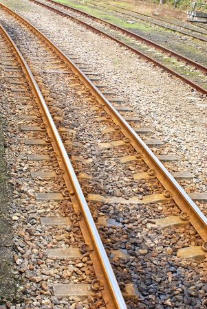 railtrack: Curving Rail Track . Stock Photo