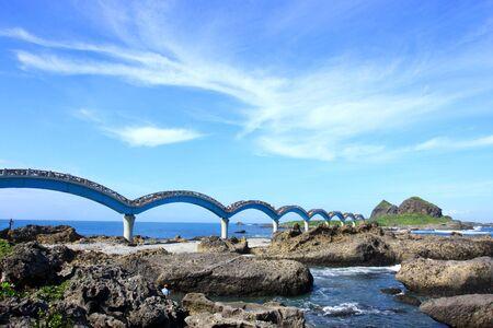 Island rock bridge and beautiful ocean scenery.