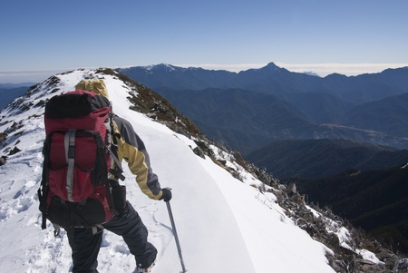 mountain guide with beautiful snow scenery.
