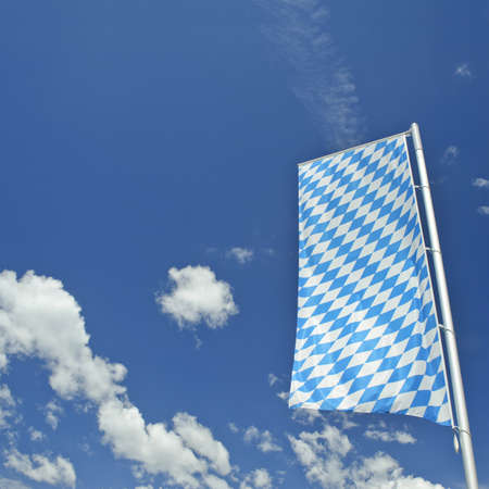 Bavaria  flag with blue sky in Germany. photo