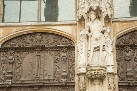 stone statue with Gothic architecture style in Ulm Minster,Germany. Stock Photo - 10629086