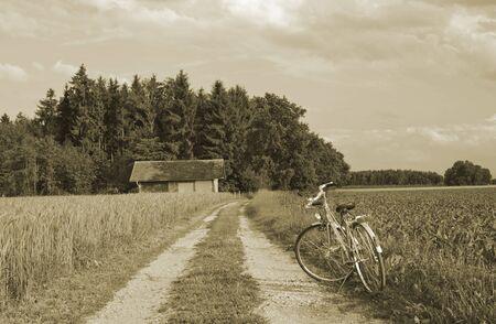 Bike auf gr�nem Weizen Bauernhof in Deutschland, Europa