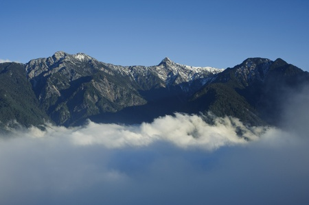 Dramatic cloud scenery with snow mountain in yushan national park,Taiwan,asia