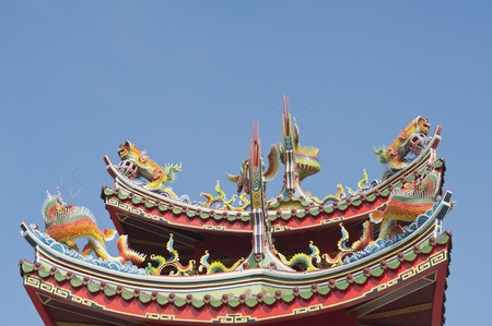 chinese dragon god sculpture on temple roof in asia  photo