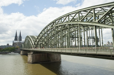city views of cologne cathedral and railway bridge over the Rhine river, Germany,europe Stock Photo - 13107072