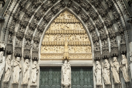 facade of historical gothic cathedral in cologne,germany  photo