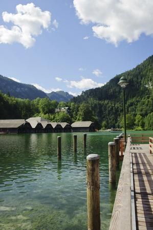 berchtesgaden: Pier over the lake in koenigssee, berchtesgarden, germany  Stock Photo