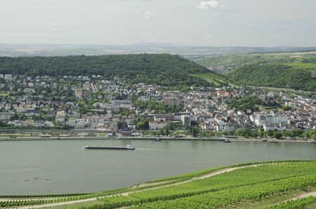 rudesheim: transportation of rhine river with city scenery, Rudesheim, Germany